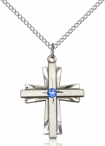 Birthstone September Sapphire Double Etched Cross Necklace by Bliss