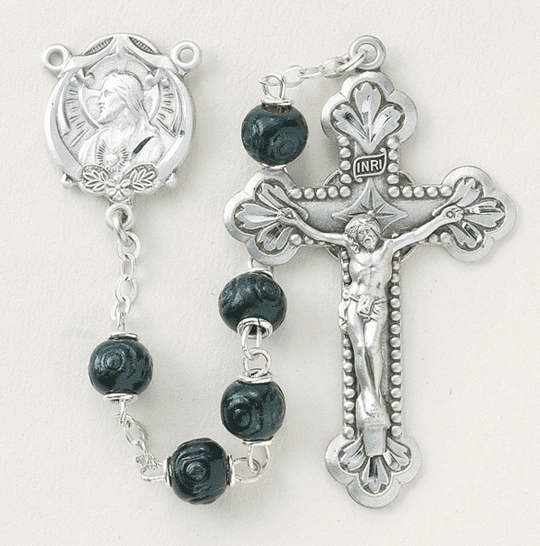 Black Carved Coco Sterling Silver Scapular Rosary by HMH Religious