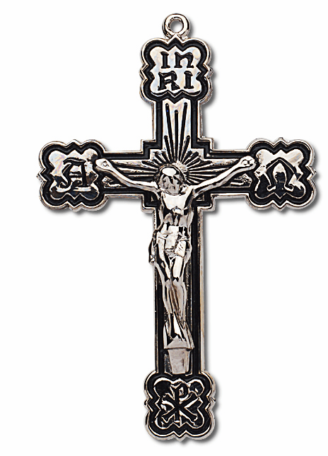 Black Etch Sterling Silver Crucifix Rosary Part by HMH Religious