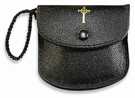 Black Leather Burse with Strap by Stratford Chapel
