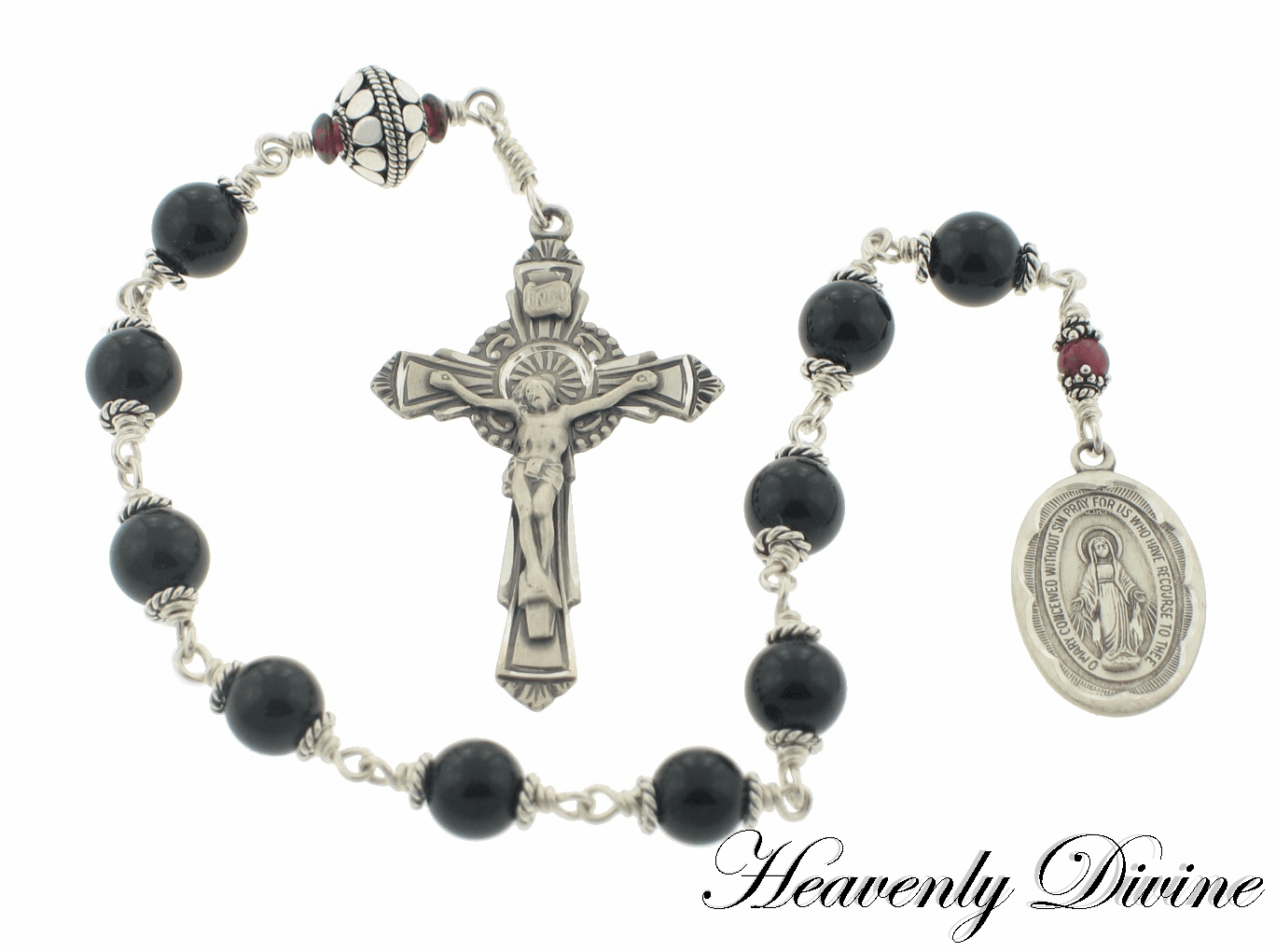 Black Onyx & Garnet One Decade Rosary by Heavenly Divine