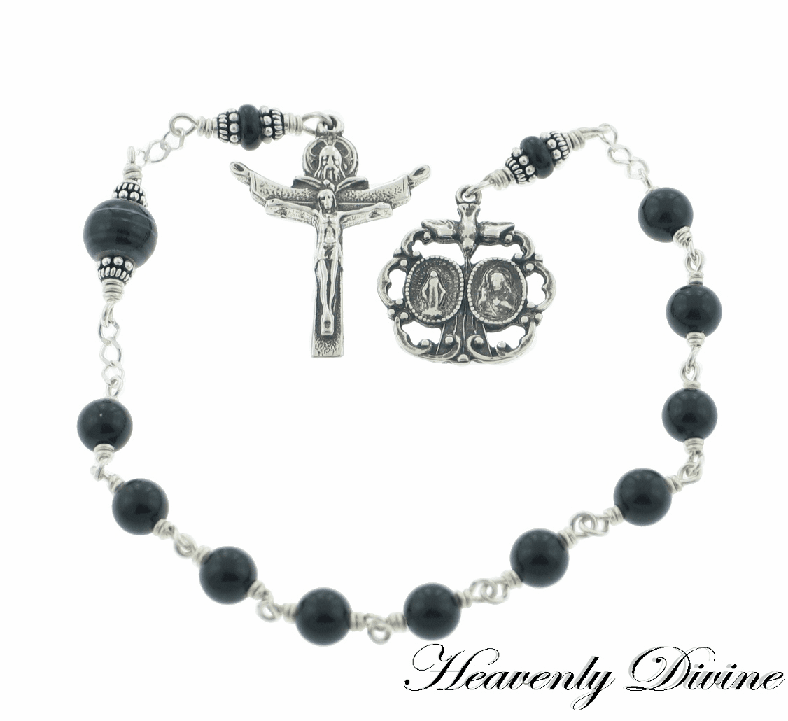 Black Onyx Trinity One Decade Pocket Rosary by Heavenly Divine