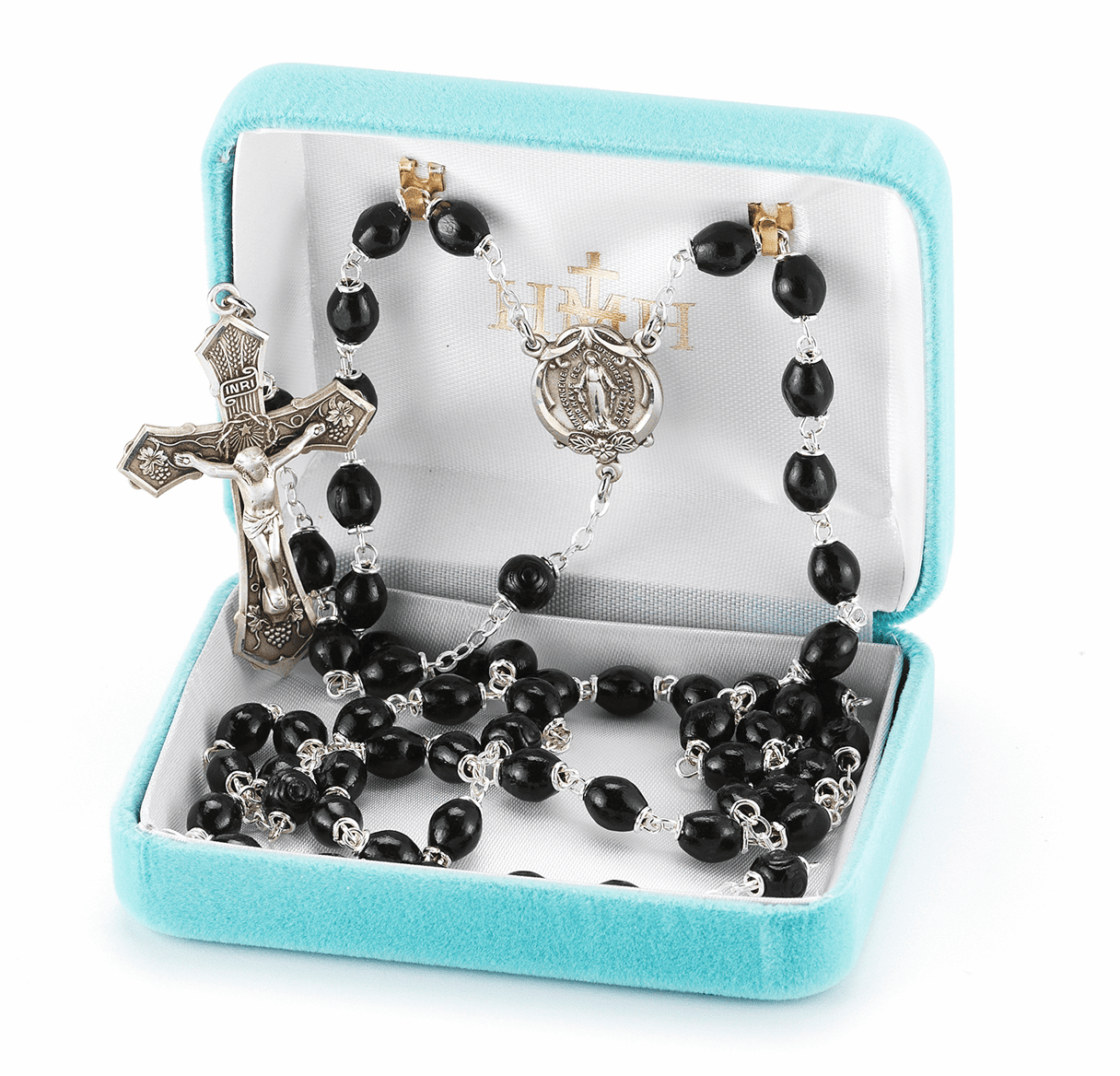 Black Polished Oval Boxwood Sterling Silver Rosary by HMH Religious