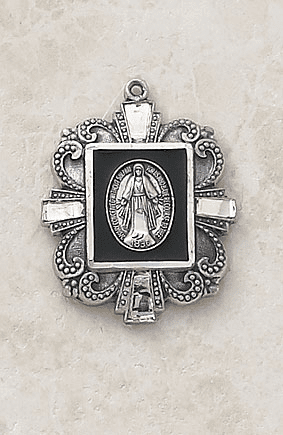 Black Sterling Silver Ornate Miraculous Medal Necklace by Creed Jewelry