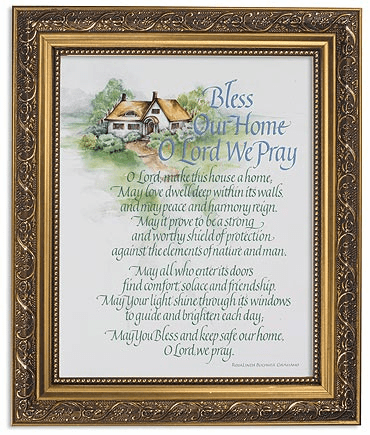 Bless Our Home O Lord Framed Print Picture with Gold Frame by Gerffert