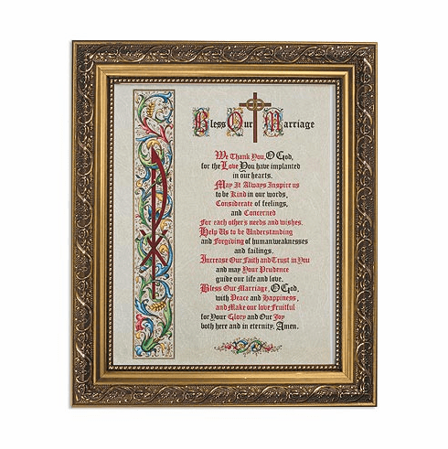 Bless Our Marriage Framed Print Picture with Gold Frame by Gerffert