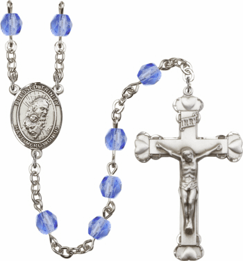 Blessed Holy Trinity Patron Saint Birthstone Fire Polished Crystal Prayer Rosary