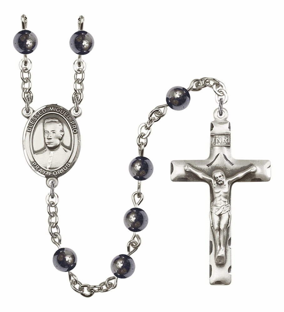 Blessed Miguel Agustin Pro 6mm Hematite Gemstone Rosary by Bliss