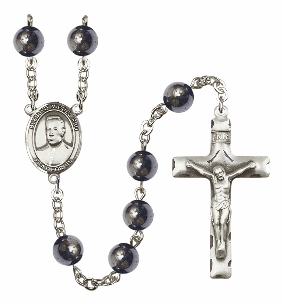 Blessed Miguel Agustin Pro 8mm Hematite Gemstone Rosary by Bliss