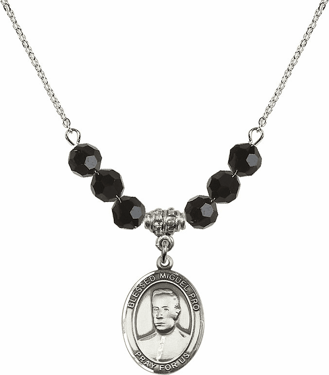 Blessed Miguel Agustin Pro Jet Black Necklace by Bliss Mfg