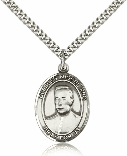 Blessed Miguel Agustin Pro Sterling Silver Medal Necklace By Bliss