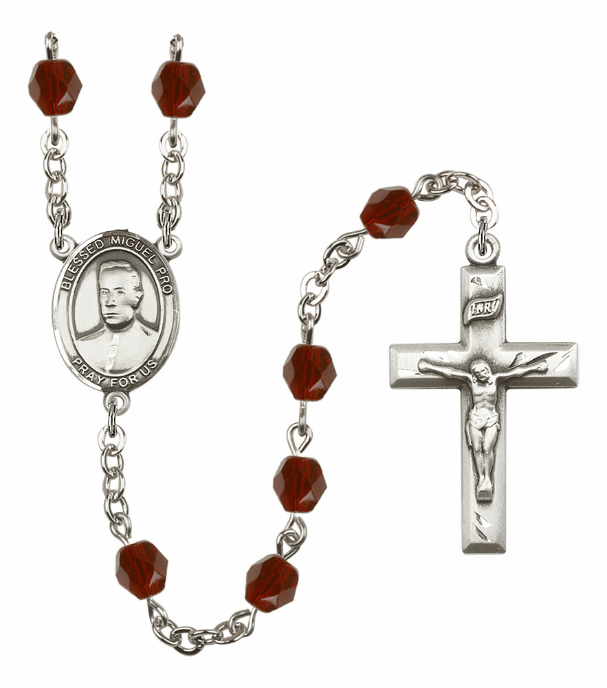 Blessed Miguel Pro Silver Plate Birthstone Crystal Prayer Rosary by Bliss