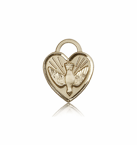 Bliss 14kt Gold Confirmation Holy Spirit Dove Heart Medal Pendant