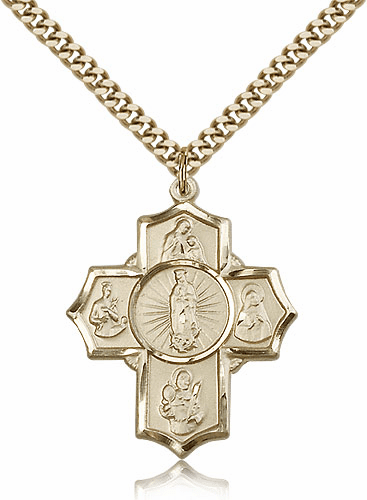 Bliss 14kt Gold-Filled 5-Way Motherhood Cross Medal Necklace