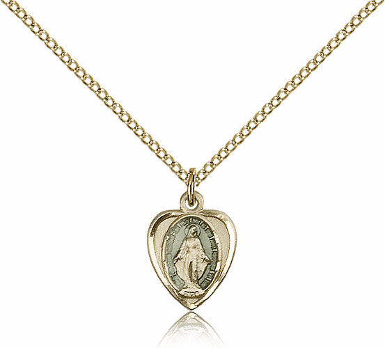 Bliss 14kt Gold-filled Blue Heart Shape Miraculous Medal Pendant Necklace