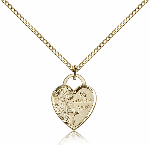 Bliss 14kt Gold-filled Guardian Angel Heart Pendant Necklace