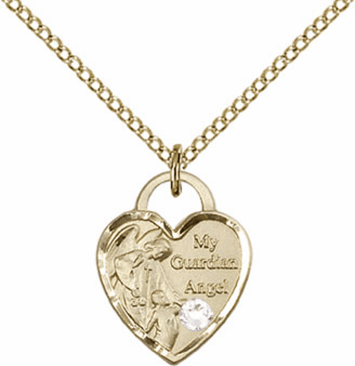 Bliss Gold-filled Guardian Angel Heart Apr-Crystal Birthstone Necklace