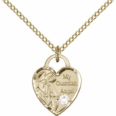 Bliss 14kt Gold-filled Heart April Crystal Birthstone Necklace