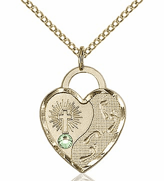 Bliss 14kt Gold-filled Heart August Peridot Birthstone Necklace