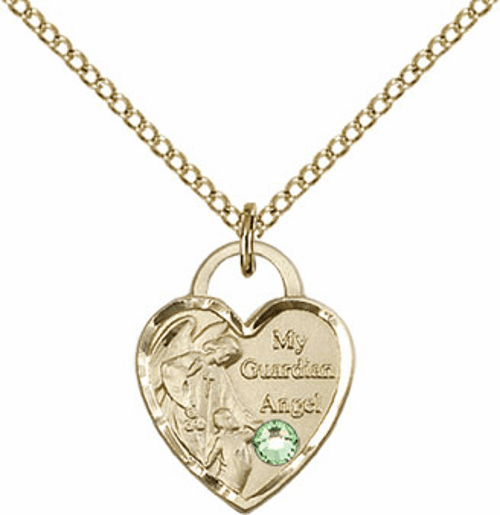 Bliss Gold-filled Guardian Angel Heart Aug-Peridot Birthstone Necklace