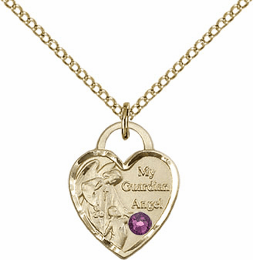 Bliss 14kt Gold-filled Heart February Amethyst Birthstone Necklace