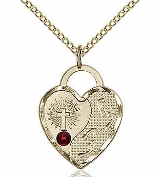 Bliss 14kt Gold-filled Heart January Garnet Birthstone Necklace
