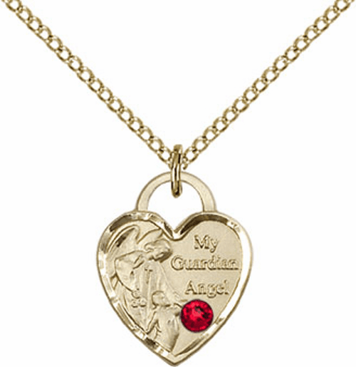 Bliss Gold-filled Guardian Angel Heart Jul-Ruby Birthstone Necklace