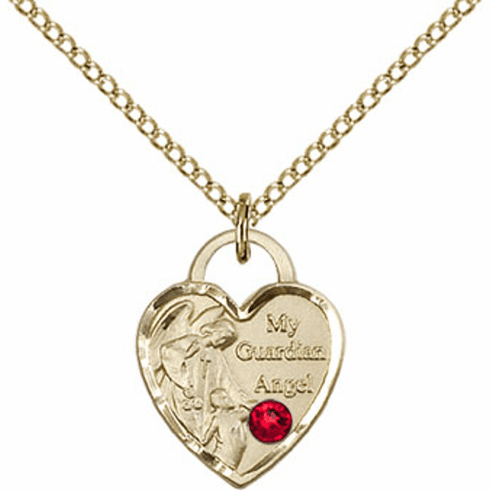 Bliss 14kt Gold-filled Heart July Ruby Birthstone Necklace