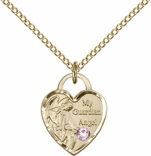 Bliss 14kt Gold-filled Heart  June Lt. Amethyst Birthstone Necklace