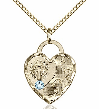 Bliss 14kt Gold-filled Heart March Aqua Birthstone Necklace