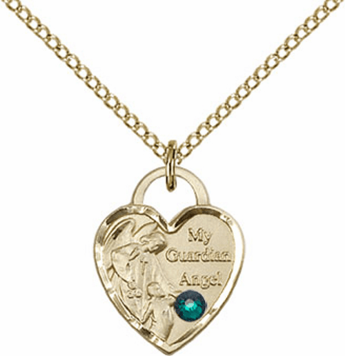 Bliss Gold-filled Guardian Angel Heart May-Emerald Birthstone Necklace