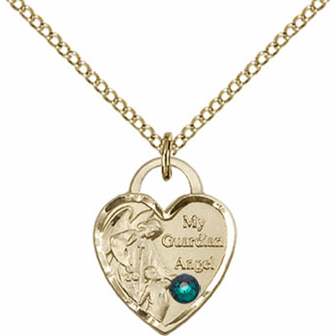 Bliss 14kt Gold-filled Heart May Emerald Birthstone Necklace