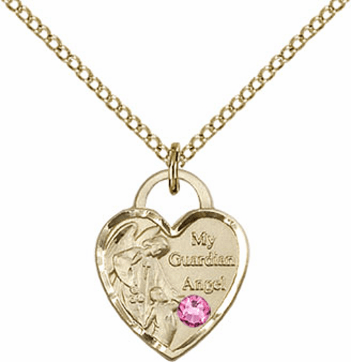 Bliss Gold-filled Guardian Angel Heart Oct-Rose Birthstone Necklace