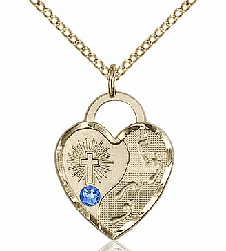 Bliss 14kt Gold-filled Heart September Sapphire Birthstone Necklace