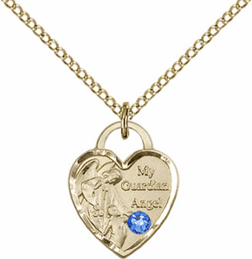 Bliss Gold-filled Guardian Angel Heart Sept-Sapphire Birthstone Necklace