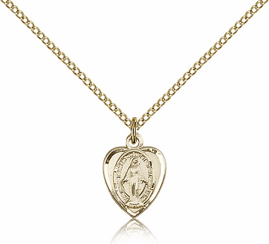 Bliss 14kt Gold-filled Heart Shape Miraculous Medal Pendant Necklace