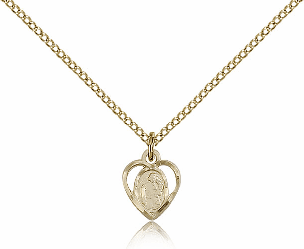 Bliss 14kt Gold-filled Heart St Joseph Medal Pendant Necklace