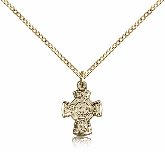 Bliss 14kt Gold-filled Holy Spirit 5-Way Cross Medal Pendant Necklace