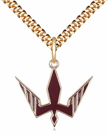 Bliss 14kt Gold-filled Holy Spirit Red Epoxy Pendant Necklace
