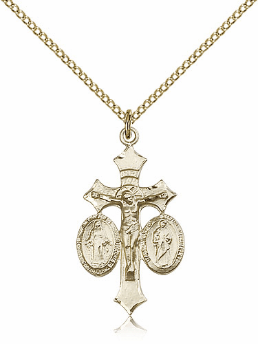 Bliss 14kt Gold-filled Jesus, Mary and Joseph Crucifix Medal Pendant Necklace