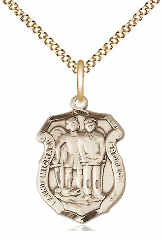 Bliss 14kt Gold-filled Medium St Michael the Archangel Police Shield Medal Pendant Necklace