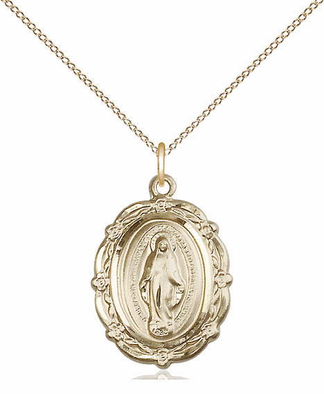 Bliss 14kt Gold-filled Miraculous Medal Medal Pendant Necklace