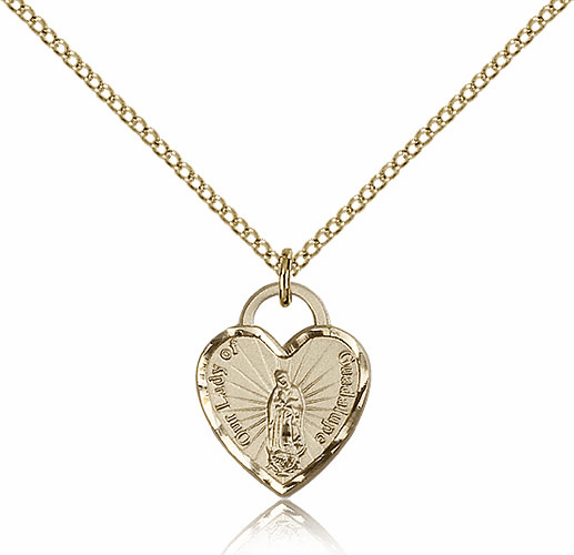 Bliss 14kt Gold-filled Our Lady of Guadalupe Heart Pendant Necklace