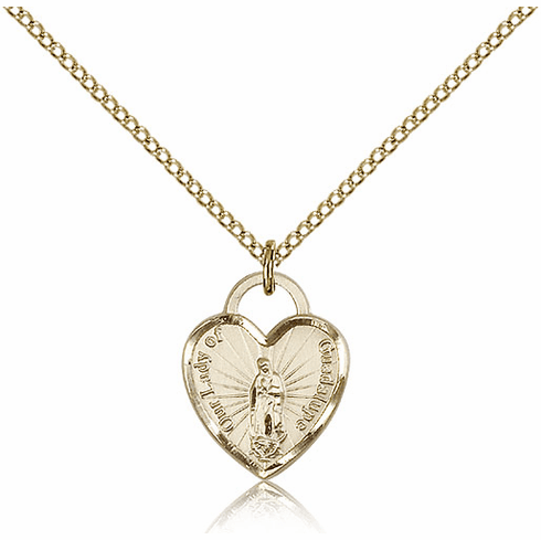 Bliss 14kt Gold-filled Our Lady of Guadalupe Heart Recuerdo Pendant Necklace