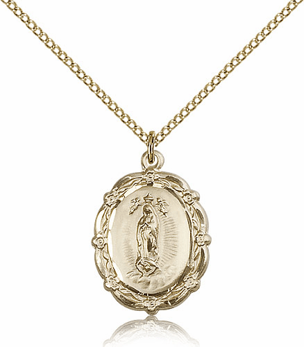 Bliss 14kt Gold-filled Our Lady of Guadalupe Medal Pendant Necklace