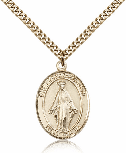 Bliss 14kt Gold Filled Our Lady of Lebanon Pendant Necklace