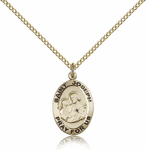 Bliss 14kt Gold-filled Oval St Joseph Medal Pendant Necklace