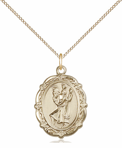 Bliss 14kt Gold-filled Patron Patron Saint Christopher Medal Pendant Necklace