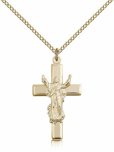 Bliss 14kt Gold-filled Risen Jesus Christ Cross Medal Pendant Necklace