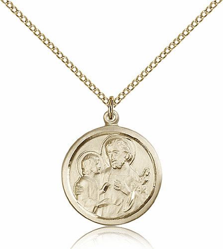 Bliss 14kt Gold-filled Round St Joseph Medal Pendant Necklace